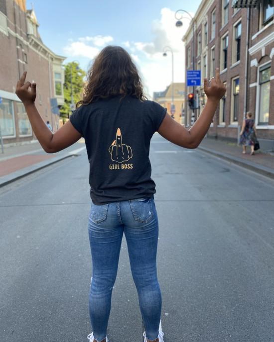 T-shirt F*cking Girl Boss donkergrijs
