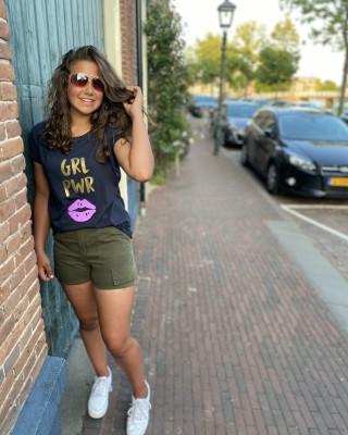 T-shirt Girl Boss GRL PWR navy