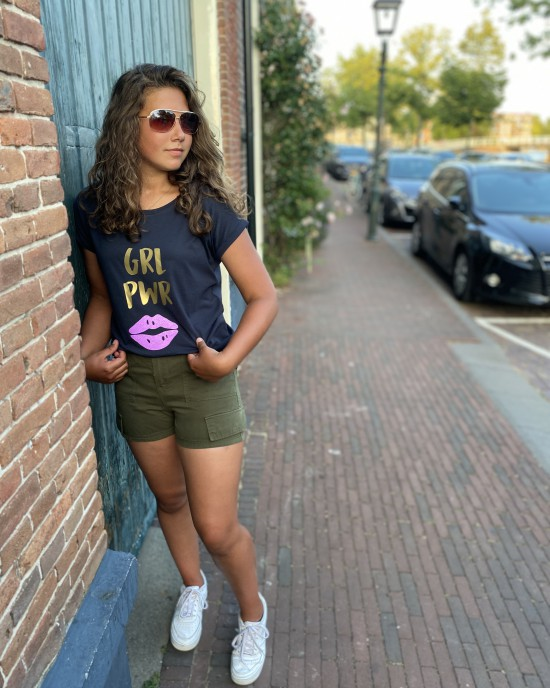 T-shirt Girl Boss GRL PWR navy