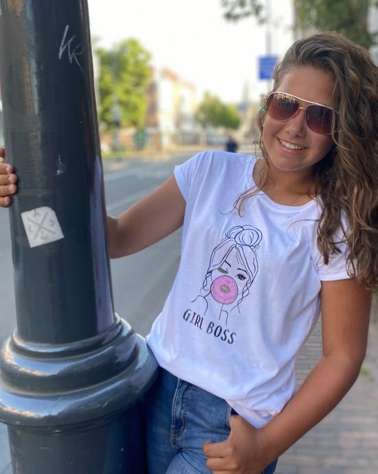 T-shirt Girl Boss Bubblegum wit