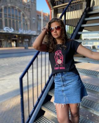 T-shirt Lady Boss Bubblegum zwart