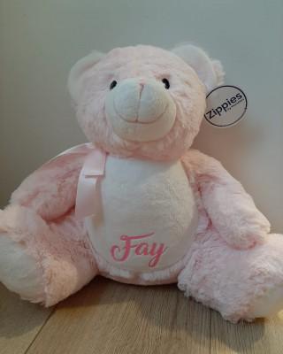 Roze beer knuffel met naam in glitter roze