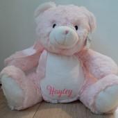 Roze beer met naam