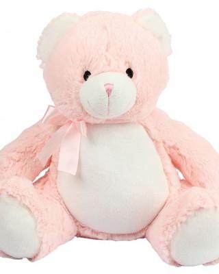 Roze beer knuffel met naam in glitter goud
