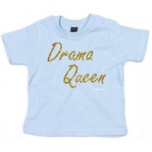 Baby-blauw t-shirt 'Gold Glitter Drama Queen'