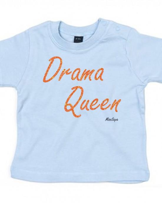 Baby-blauw t-shirt 'Orange Glitter Drama Queen'