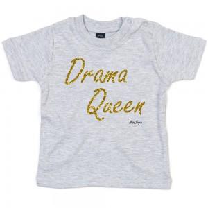 Grijs t-shirt 'Gold Glitter Drama Queen'