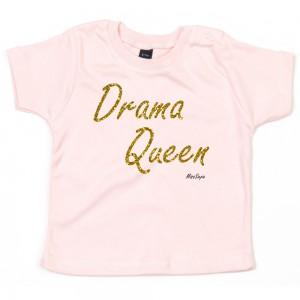 Baby-roze t-shirt 'Gold Glitter Drama Queen'