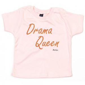 Baby-roze t-shirt 'Orange Glitter Drama Queen'