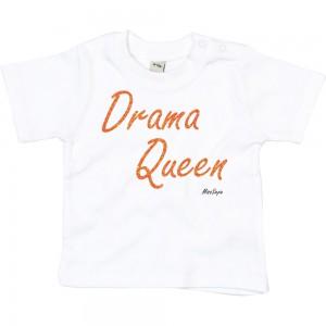 Wit t-shirt 'Orange Glitter Drama Queen'