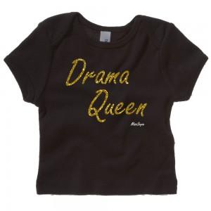 Zwart t-shirt 'Gold Glitter Drama Queen'