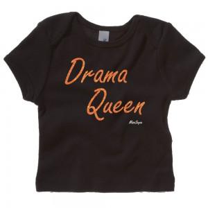 Zwart t-shirt 'Orange Glitter Drama Queen'