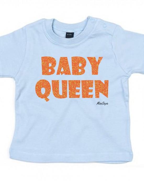 Baby-blauw t-shirt 'Orange Glitter Baby Queen'