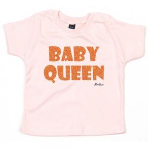 Baby-roze t-shirt 'Orange Glitter Baby Queen' (met je naam)