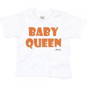 Wit t-shirt 'Orange Glitter Baby Queen'
