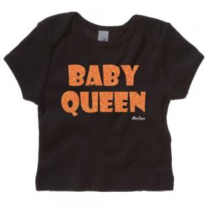 Zwart t-shirt 'Orange Glitter Baby Queen'