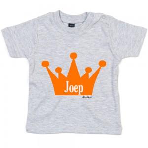 Grijs t-shirt 'Orange Crown' met naam