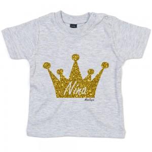 Grijs t-shirt 'Gold Glitter Crown' met naam