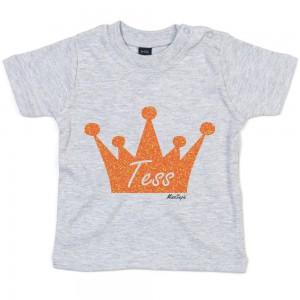 Grijs t-shirt 'Orange Glitter Crown' met naam