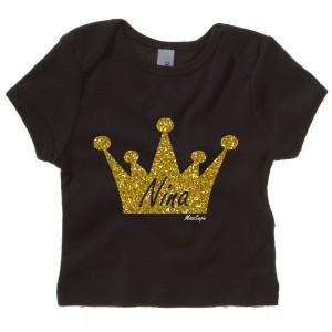Zwart t-shirt 'Gold Glitter Crown' met naam