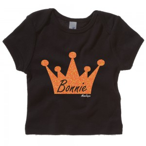 Zwart t-shirt 'Orange Glitter Crown' met naam
