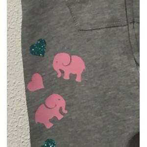 Grijze onesie 'Pink Elephant' (met je naam)