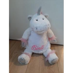 Unicorn knuffel met naam glitter roze